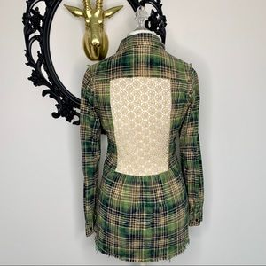 ✨ White Crow Green & Gray Plaid Flannel Top